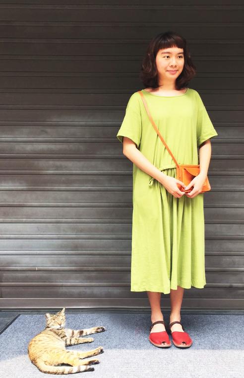 時間曲率有機棉抽繩洋裝-綠野仙蹤
