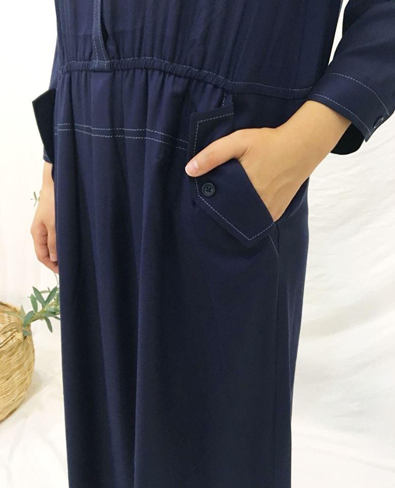 夜航藍色線口袋涼感洋裝小幫手實穿