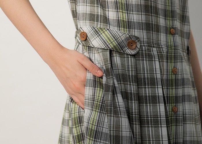 慢慢生活小蓋袖格紋洋裝