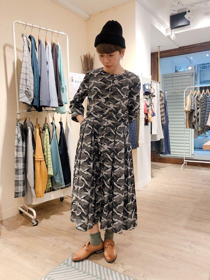 黑潮鯨魚開襟七分袖洋裝