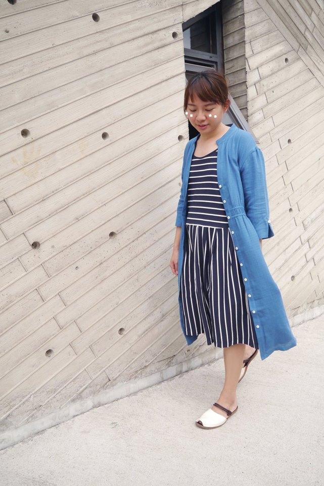 許許兒森紛有機棉洋裝搭配藍壺風信子兩穿罩衫洋裝