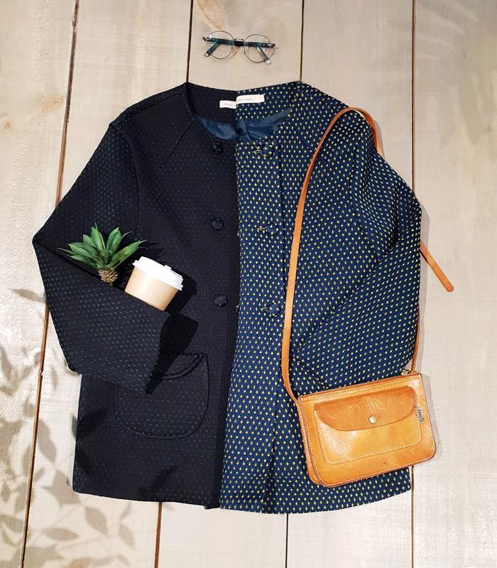 小星星口袋排釦短大衣